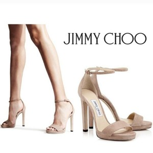 Jimmy Choo Beige Nude Misty 120 Platform Ankle Strap Suede Sandals Size US 7 Regular (M, B)