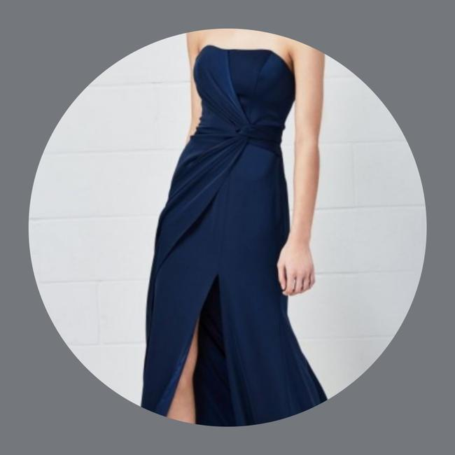 Item - Navy Stretch Crepe Rayden 5802 Modern Bridesmaid/Mob Dress Size 12 (L)