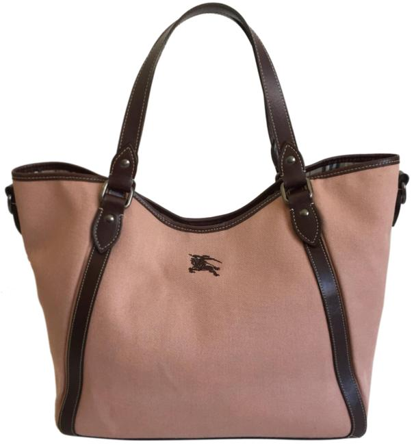 Item - Leather Trim Pink and Brown Canvas Hobo Bag