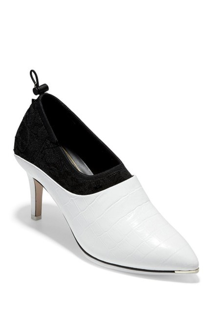 Item - White and Black Grand Dame Croc Embossed Stiletto Bootie Pumps Size US 8 Regular (M, B)