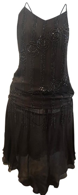 Item - Brown Beaded Flapper Mid-length Night Out Dress Size 8 (M)