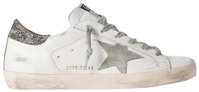 Item - White Superstar Glittered Distressed Leather and Suede Sneakers Size EU 38 (Approx. US 8) Regular (M, B)