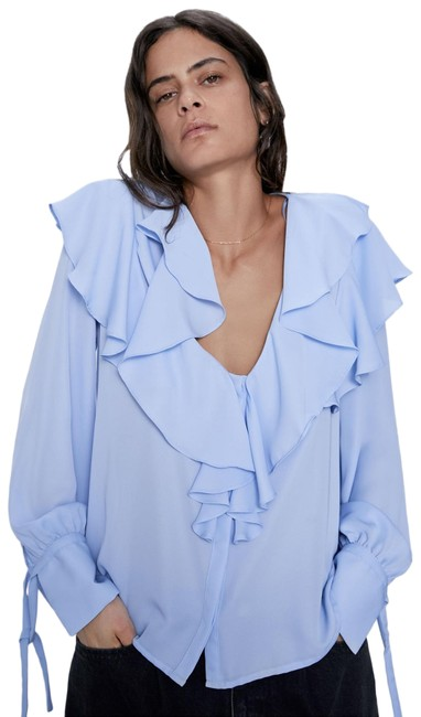 Item - Blue W Ruffled Long Sleeve Button Up V-neck Blouse W/ Tied Detail Nwt. Button-down Top Size 8 (M)