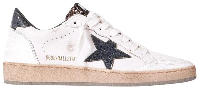 Item - White Ball Star Glittered Distressed Leather Sneakers Size EU 37 (Approx. US 7) Regular (M, B)