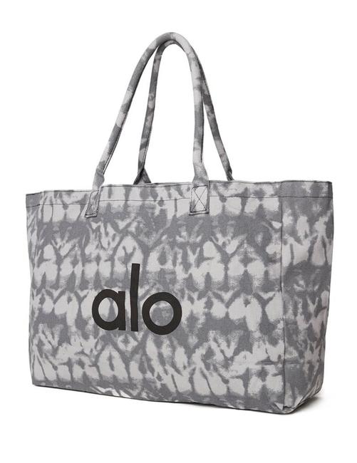 Item - Bag Tie Dyed Gray Black White Cotton Canvas Tote