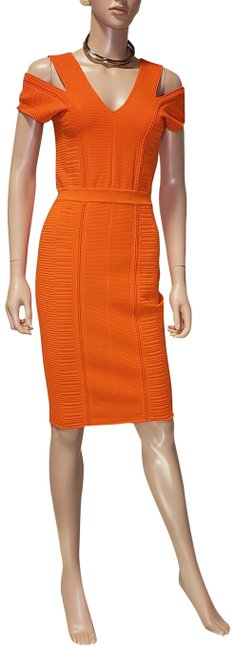 Item - Orange New Bodycon Stretch Knit In with Cut-out Shoulder Mid-length Cocktail Dress Size 6 (S)