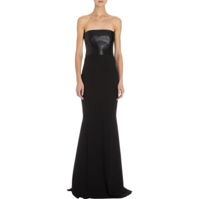 Item - Black Leather Paneled Strapless Gown 0 Long Formal Dress Size 0 (XS)