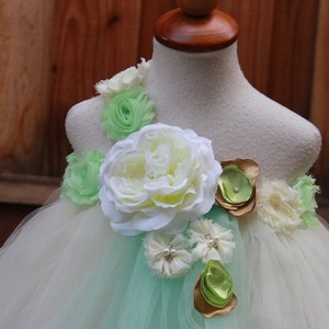 Custom Made Ivory Mint Flower Girl Dress - Free Shipping - Ready In Two Weeks