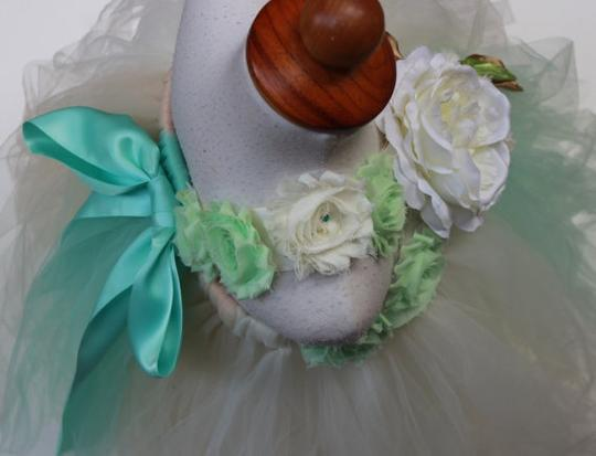 Ivory Mint Custom Made Flower Girl Dress - Free Shipping - Ready In Two Weeks