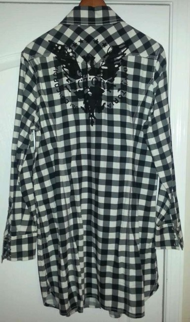 Lucky Brand Button Down Shirt White and Black Multi