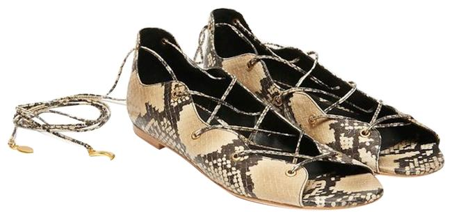 Item - Natural Annick Snake Print Lace Up Strappy Open Flats Size EU 36 (Approx. US 6) Regular (M, B)