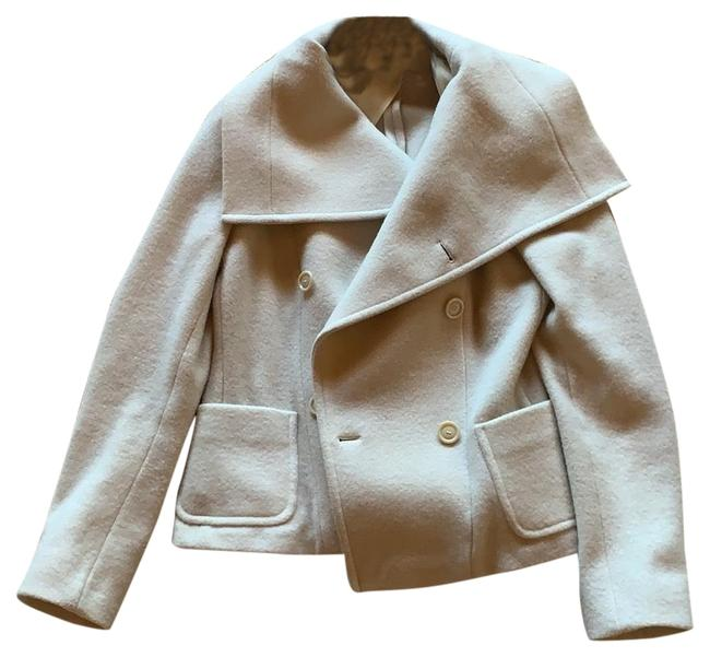 Item - White Cropped Wool with Exaggerated Lapel Coat Size 6 (S)