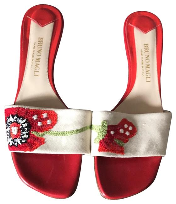 Item - Red and Tan Poppy Mules/Slides Size EU 38.5 (Approx. US 8.5) Regular (M, B)