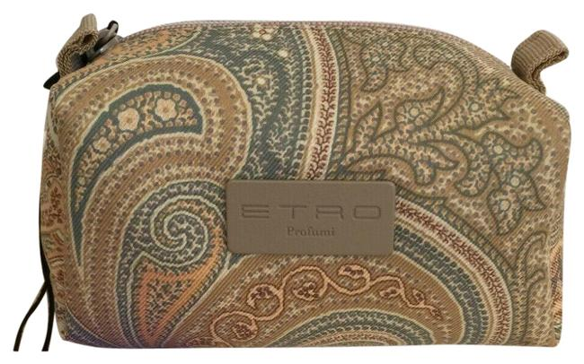 Item - Taupe Multi Vanity Case Italy Mini Toiletry Pouch Travel Paisley Cosmetic Bag