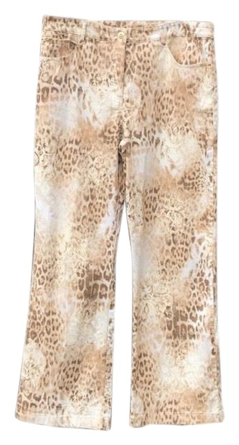 Item - Cream Tan and Brown Sport Fashion Fit Cheetah Print Pants Size 14 (L, 34)