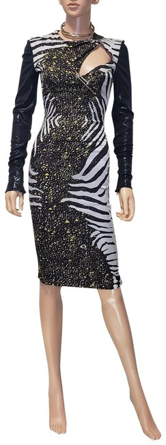 Item - Black/Multi Fall 2013 New Stretch Silk Georgette Cocktail 38 - 4 Mid-length Formal Dress Size 2 (XS)