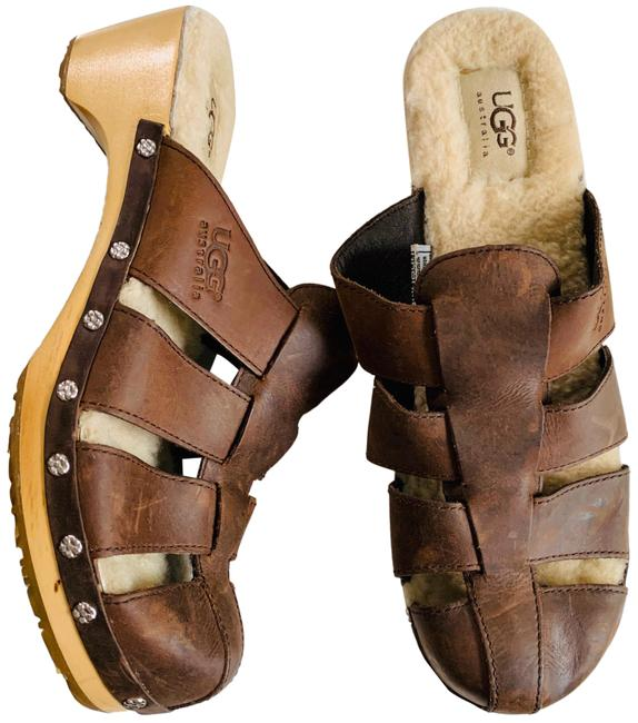 Item - Brown Sherpa Lined Fisherman Mules/Slides Size US 8 Regular (M, B)