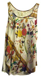 Tiny Silk Flowy Top Flower Print on Front, Cream Cotton Back