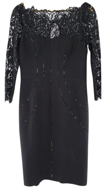 Item - Black Elegant Lace Evening Party Cocktail Sheath Mid-length Night Out Dress Size 8 (M)