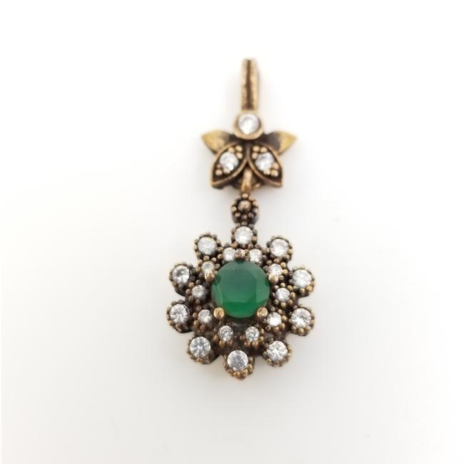 Item - Green .70 Round Emerald Zircon Antique Design Flower Pendant 925 Sterling Necklace