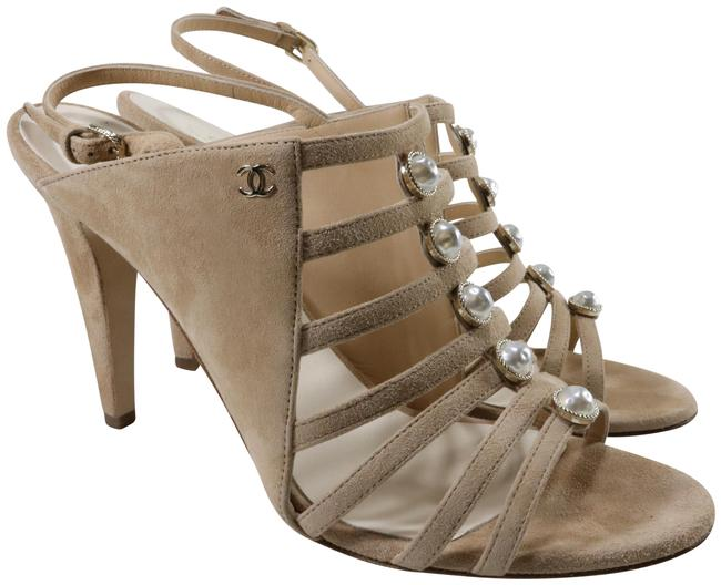 Item - Beige Kid Suede Nude Pearl Centric Strappy Cc Logo C866 Sandals Size EU 40 (Approx. US 10) Regular (M, B)