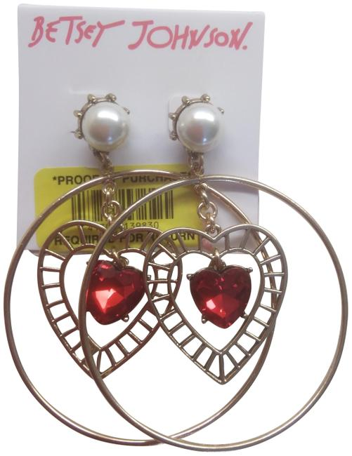 Item - Red New and Gold Hearts Earrings