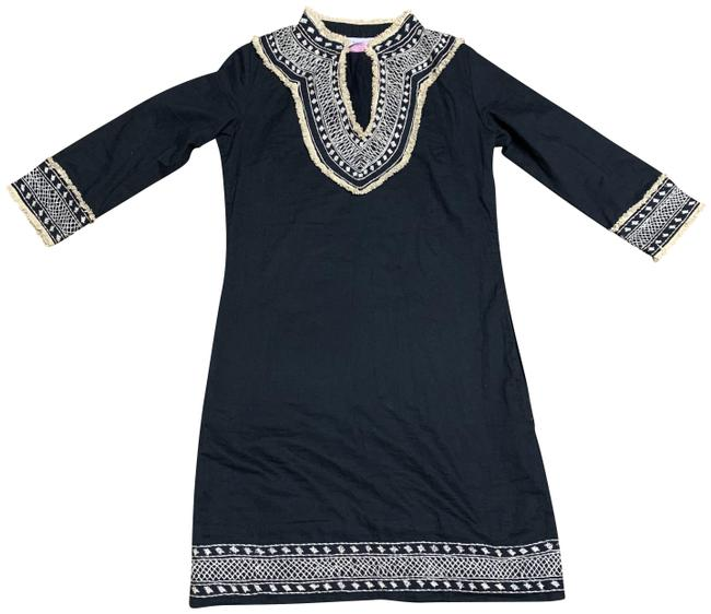 Item - Black with Beige Details Embroidered Mid-length Short Casual Dress Size 2 (XS)