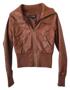 Ambiance Apparel Faux warm brown Leather Jacket