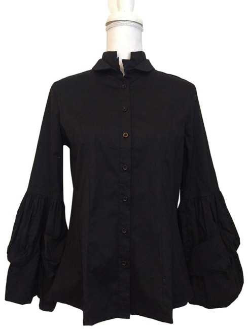 Tov Black Ruffle Sleeve Button-down Top Size 8 (M) Tov Black Ruffle Sleeve Button-down Top Size 8 (M) Image 1