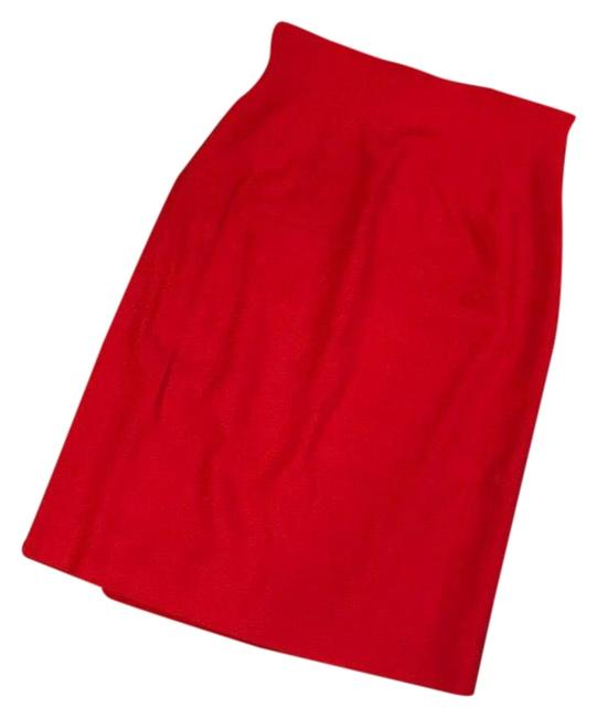Item - Red High Waisted Wool Skirt Size 2 (XS, 26)