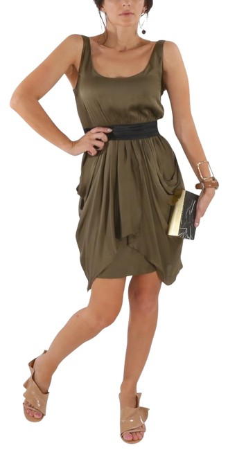 Item - Olive Green Mini Silk Sleeveless Short Casual Dress Size 6 (S)