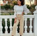 Zara With Combination Sleeves White Sweater Zara With Combination Sleeves White Sweater Image 6