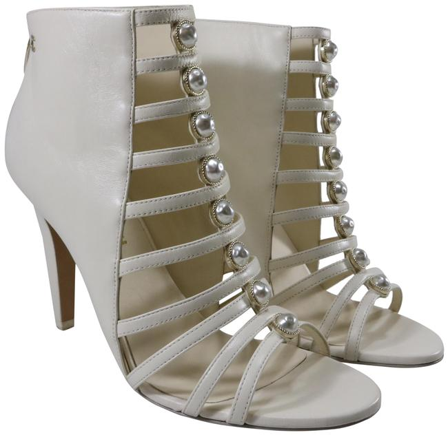 Item - White Pearl Centric 100mm Ivory Lambskin Cage Strappy C869 Sandals Size EU 37.5 (Approx. US 7.5) Regular (M, B)