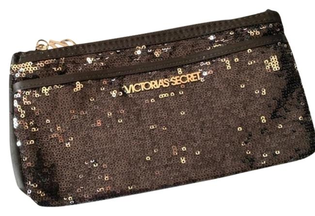 Item - Silvery Shiny Sequin Pouch Gray Black Sateen Clutch