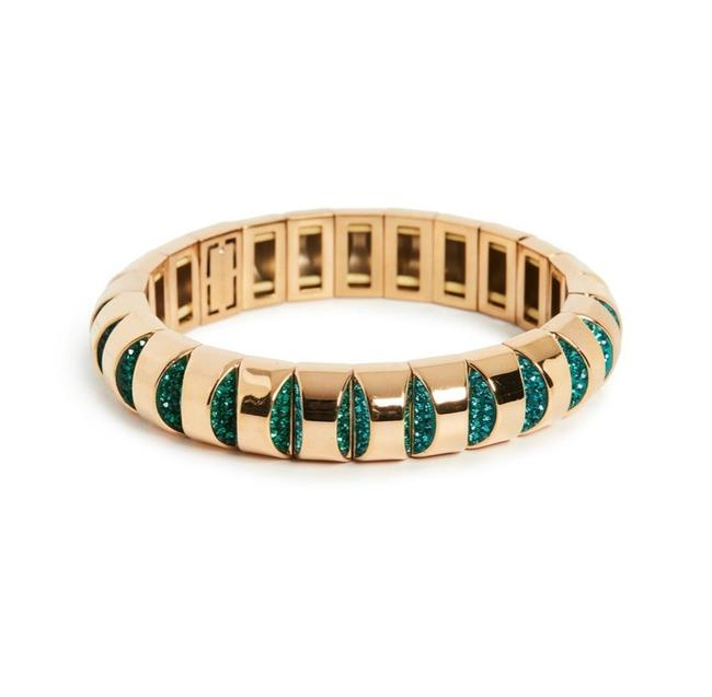 Item - Green and Gold Crystal Accents Bracelet