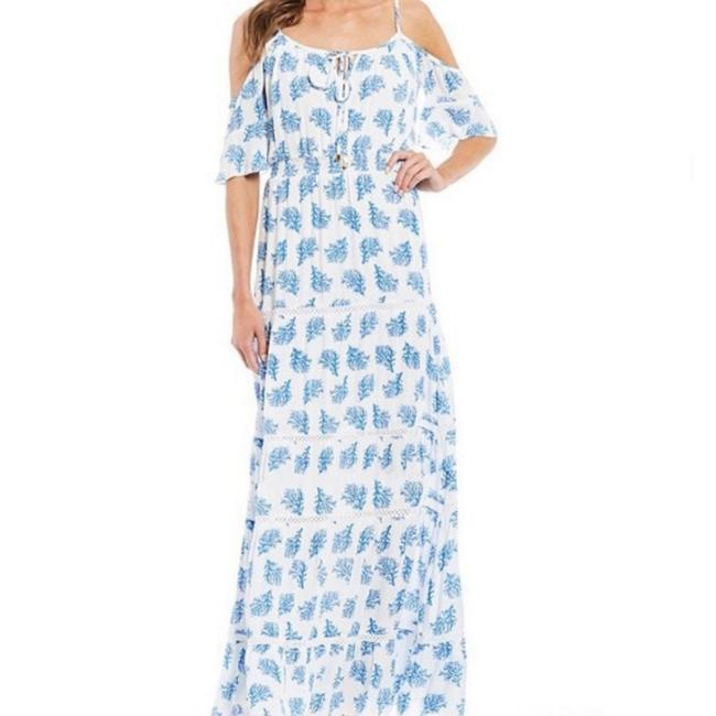 Item - White and Blue Painted Reef Long Casual Maxi Dress Size 12 (L)