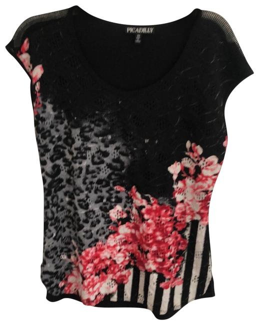 Picadilly Fashion Printed Black Top Picadilly Fashion Printed Black Top Image 1