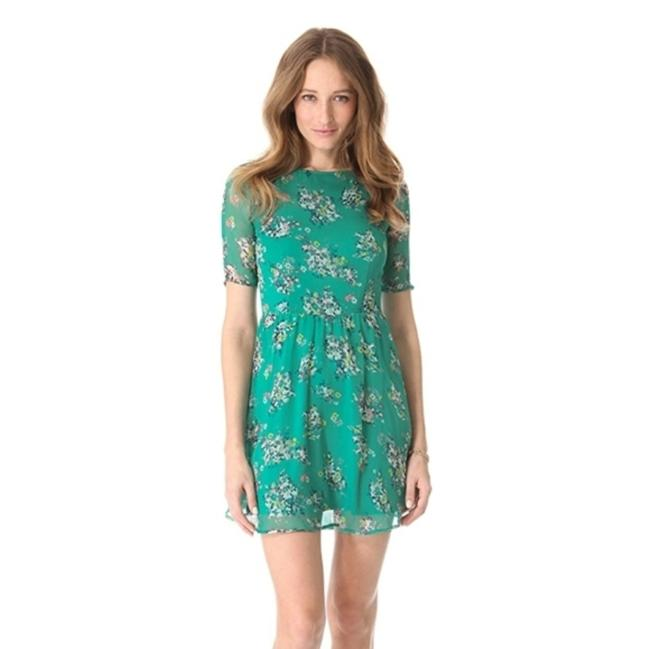 Item - Green Citrus Floral Style # Edzyp13995 Short Casual Dress Size 12 (L)
