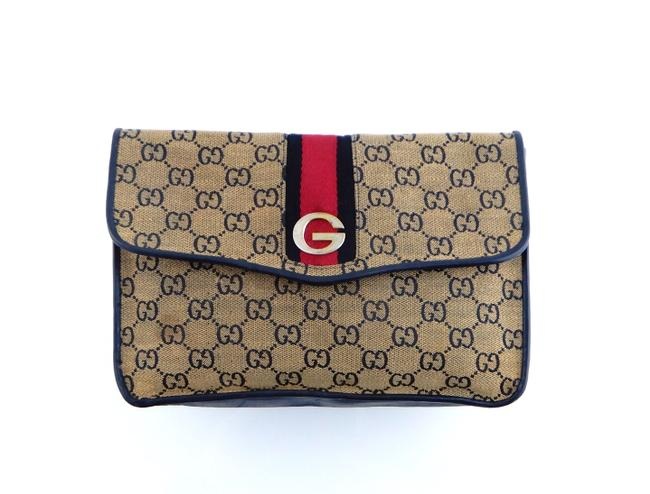 Item - Brown and Blue Toiletry Vintage Web Gg Monogram Canvas Leather Travel Cosmetic Bag
