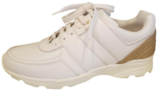 Item - White Gold 18c Leather Lace Up Tennis Kicks Sneakers Size EU 42 (Approx. US 12) Regular (M, B)