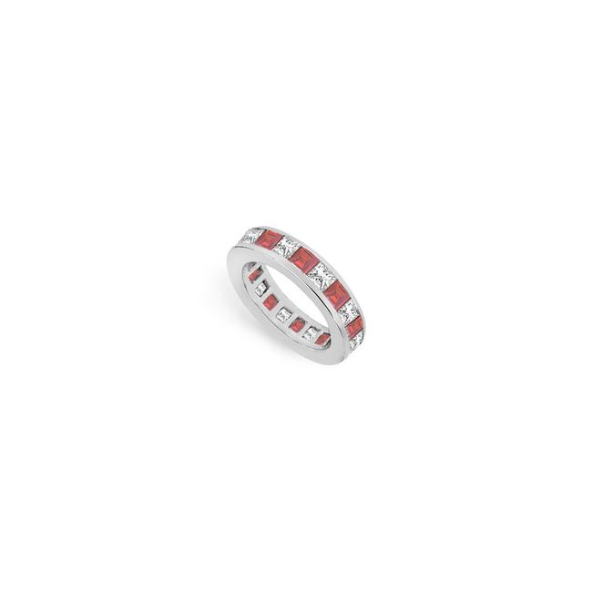 Red Cubic Zirconia and Created Ruby Eternity Band 14k White Gold 4.00 Ct T Ring Red Cubic Zirconia and Created Ruby Eternity Band 14k White Gold 4.00 Ct T Ring Image 1