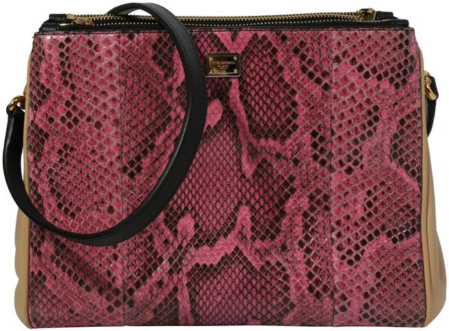 Item - Dolce and Gabbana Snakeskin Double Compartment Pink Calfskin Leather Satchel