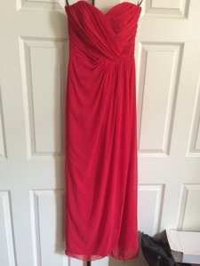 Dessy Red Chiffon Floor Length Sweetheart Neckline Formal Bridesmaid/Mob Dress Size 2 (XS)