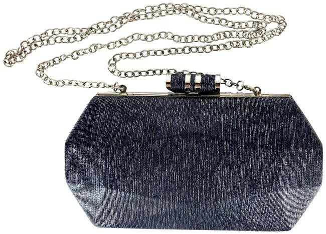 Item - Silver Hard Case with Chain Blue Unknown Clutch
