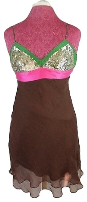 Item - Brown Green Pink Bcbg Silver Sequin Short Cocktail Dress Size 4 (S)