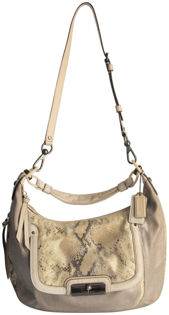 Item - 16809 Kristin Linen Large Silver Python Skin Leather Hobo Bag