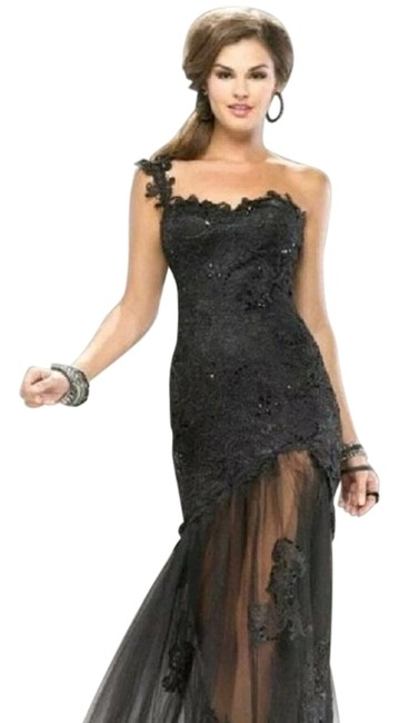 Maggie Sottero Black Flirt Prom Banquet Flirt By Long Cocktail Dress Size 12 (L) Maggie Sottero Black Flirt Prom Banquet Flirt By Long Cocktail Dress Size 12 (L) Image 1