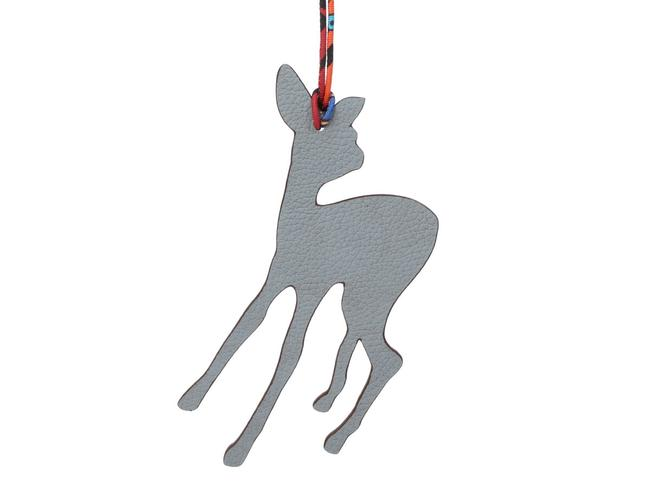 Item - Gray Togo and Red Epsom Leather Petit H Fawn Bag Charm