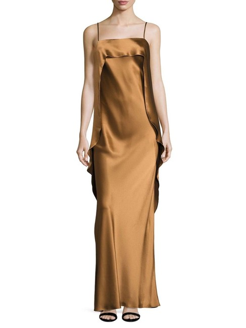 A.B.S. by Allen Schwartz Gold Champagne Abs Draped Back Overlap Abs Long Cocktail Dress Size 2 (XS) A.B.S. by Allen Schwartz Gold Champagne Abs Draped Back Overlap Abs Long Cocktail Dress Size 2 (XS) Image 1