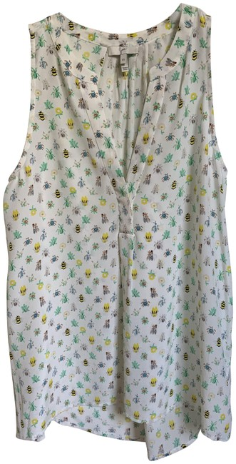 Item - Multicolor XS Bug/Flower Print Silk In Tank Top/Cami Size 2 (XS)
